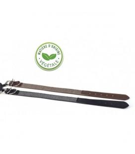 Collier marron en cuir végétal et tweed - da vinci
