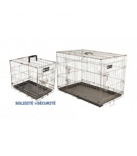 Cage métal pliante avec fond abs taupe pour transport