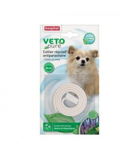 Collier blanc répulsif antiparasitaire chien/chiot beaphar